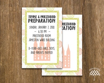 LDS Temple & Priesthood Preparation Invitation -- Colored Pencil Dots