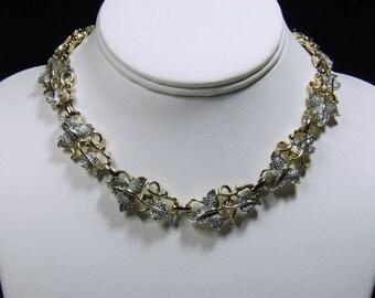 Vintage, Designer Pave Set Leaf Necklace  (2662)