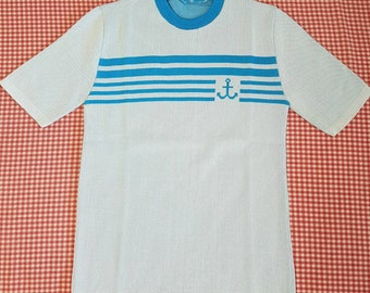 1970s Anchor Knitshirt by Dale Young Blue Medium