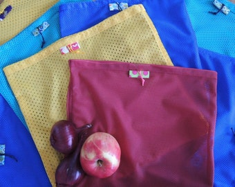 Re.Vrečka. (pack of 4) Upcycled & Reusable Shopping Storing bag, Vegetables Lace bag, Eco friendly, Farmers Market bag -
