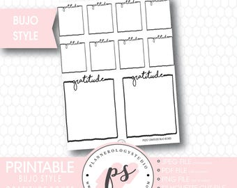 Bullet Journal Bujo Gratitude Boxes Printable Planner Stickers | JPG/PDF/Silhouette Cut Files