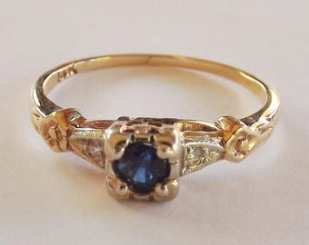 Cute Vintage 1930s Art Deco Sapphire   Diamond engagement ring  detailed  floral orange blossom shouldersVintage Wedding   Engagement   Etsy. Etsy Vintage Wedding Rings. Home Design Ideas