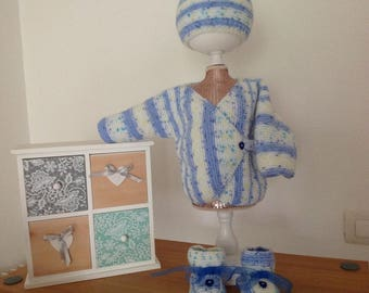Jacket-Bonnet and booties set birthstone