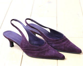 LAURA ASHLEY Dark Purple Slingback  Shoes  - EURO Size 37, Wedding party shoes, Special Occasion shoes, party shoes