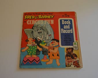 1974 Fred & Barney In Circus Fun Book and Record