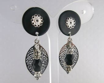 Earring Clip Luna black (made in France)