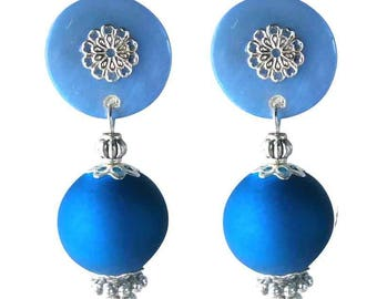 Cherry (made in France) Blue clip on earrings
