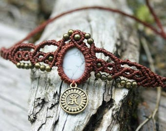 Macrame Anklet with turquoise and OM pendant