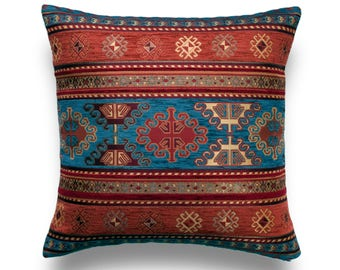 KILIM PILLOW Cover - Turkish Pillow -Tribal Pillow Cover -Ethnic Pillow Cover -Geometric Pattern -Orange and Blue Pillow -Kilim Throw Pillow