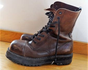 Combat boots for men size 10.5 mens hobo boots bohemian men boots chunky boots men lace up boots men army combat boots Goodyear vintage