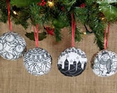 Christmas Coloring Ornament Four Ornament Set, DIY Christmas Ornament, Adult Coloring Christmas DIY Gift, Coworker Gift, Kids Craft, DIY Kit