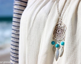 Long Bohemian turquoise dream catcher and feathers, grand mother gift, Easter