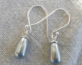 """Silver hook earrings """"Bead grisette"""""""