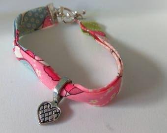 Liberty pink, heart, heart charm bracelet