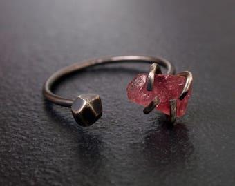 Rough Tourmaline Oxidized Silver Gemstone Ring, Raw Tourmaline Gemstone Ring, Oxidized Silver Raw Gemstone Ring, Nugget Dual Gemstone Ring