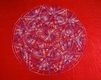 Heather purple round doily handmade crochet