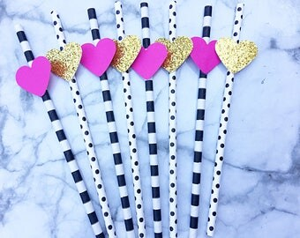 Kate Spade inspired decorative paper straws. Handcrafted in 1-3 business days.