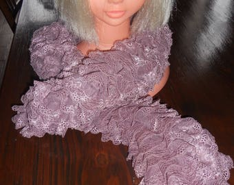 scarf has ruffle lace old rose