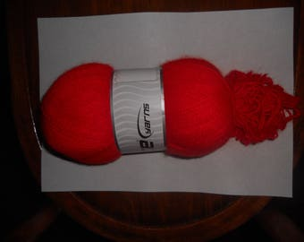 balls of wool mohair acrylic ICE brand red color
