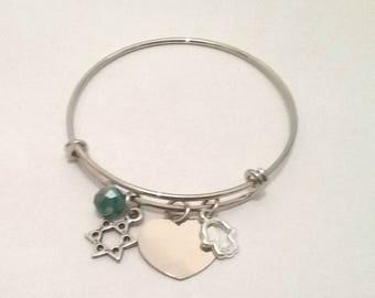 Hebrew name bracelet, jewish jewelry, Hebrew bracelet, Hebrew name, personalized bracelet, Jewish gifts, Jewish presents, Bat mitzvah gift,