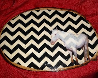 Twin Peaks~White Horse Visions~Chevron Wooden Log Wall Plaque~