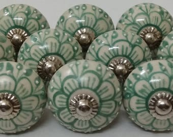 Green Color Flower Design Handpainted emboss (dotted) Ceramic Knobs Kitchen Cabinet Drawer Knobs Ceramic Door Knobs Cabinet Knobs