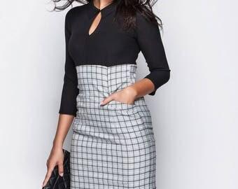 Black dress casual wear Midi dress checkered dress Casual women's dress Little black dress Day dress women's Knee-length dress Evening dress