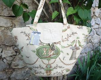 Bag shaped basket Wicker printed linen