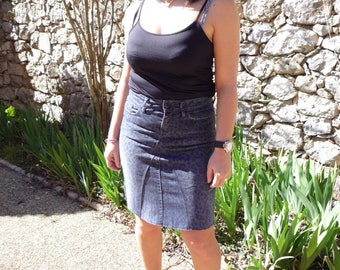 Leopard style recycled jeans skirt