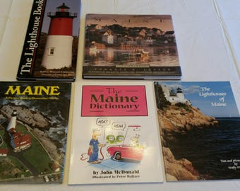5 state of maine picture books - lighthouses - 4 seasons - mainah dictionary - pictorial souvenir photos - vacation reference coastal ocean