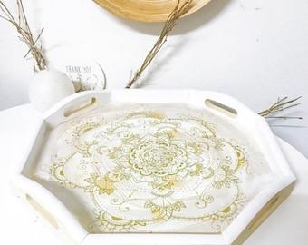 Handmade ETHNIC CHIC shock mandala tray