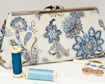 Clutch Bag - Purse - Hand Bag - Evening Bag - Prom Bag - Handmade bag featuring gorgeous stylised floral flowers with metallic accents.