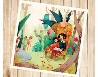 """""""La lecture à Zoé"""", carte postale carrée."""