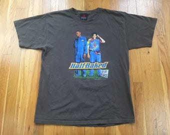 Vintage 1998 Half Baked movie promo tshirt size L brown zion rootswear crime stoner film nyc rap tee hip hop weed grass pot dave chappelle