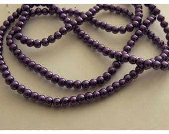 Set of 10 - purple - 4 mm Pearl glass beads