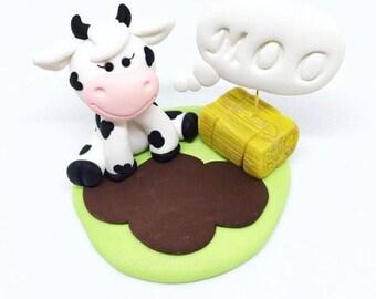 Moo Cow barnyard polymer clay figurine