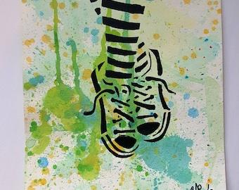 Stripes & Sneaks 9x12 KVicious Paper Graffiti Original stencil art