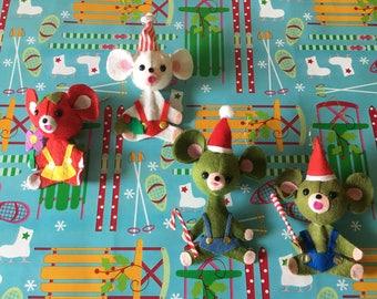 Vintage Felt Mouse Christmas Ornaments - Set of 4