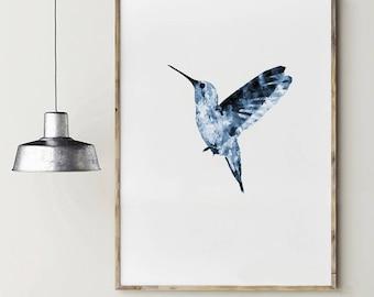 Blue hummingbird. Watercolor hummingbird. Instant download