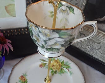 Royal Albert Teacup and Saucer, Mini Tiered Cake Stand, Cookie Stand, JewelryHolder, Catch All, Wedding Shower, Hostess Gift