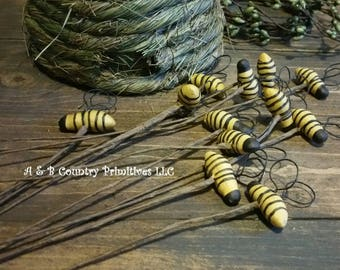 Set Of 6 Primitive Decorative Bee Picks 9 Inches Country Home Decor