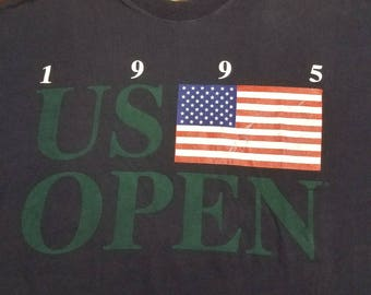 Vtg 1995 US Open Golf Collection Tournament Shirt | Vintage Retro 90s Corey Pavin USA Navy Blue | Mens Large | TUFF