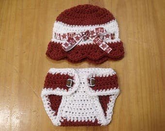 Handmade Crochet NCAA Texas A&M Newborn Beanie and Diaper Cover Set 0-6 mts - Great Baby Shower Gift or Photo Prop!