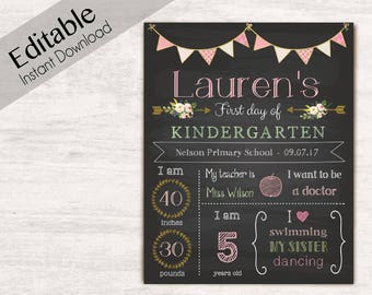 First Day of School Chalkboard Print, Editable Text, DIY, Art Print, Chalkboard Sign, Kindergarten, Grade School, Flower, INSTANT DOWNLOAD