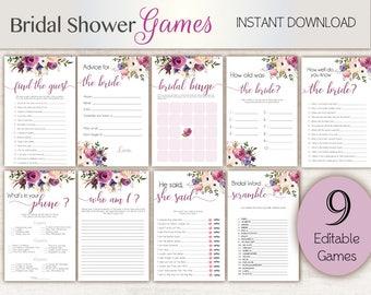 Bridal Shower Games, Lavender, Editable Bridal Shower Games Package Set Bundle , Editable games, Bridal Shower Games Purple Floral Game Set,