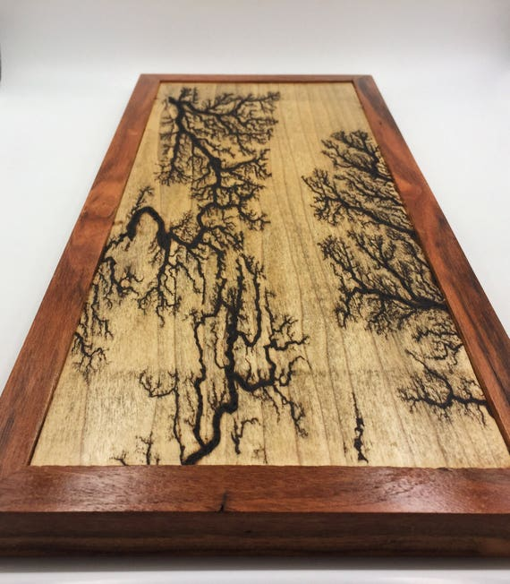 Lichtenberg Figure Art Print - Maple with Rosewood Frame