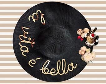 La Vita E Bella Hat | Life is Beautiful Hat | Black Sequin Beach Hat | | Personalized Beach Hat | La Vie Est Belle Hat | Black and Gold Hat