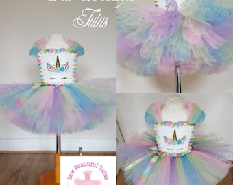 Unicorn inspired Sparkle  knee length tutu dress - Pastel Colours Magical Girl Fun Party Outfit Photo Shoot