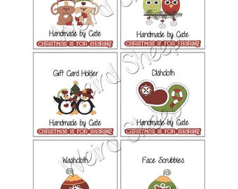 Holiday Sharing 3 Inch Square Tags Double Sided - PDF FILE ONLY
