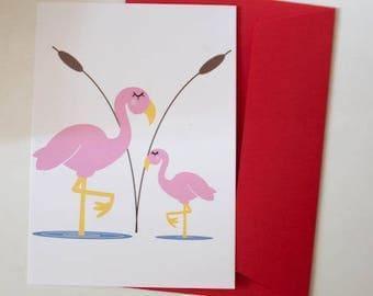 Map postcard flamingo